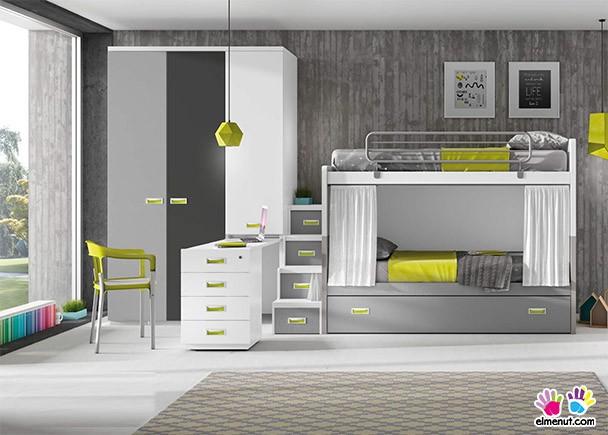 Dormitorio juvenil litera nido armario y zona estudio - Dormitorios juveniles tenerife ...