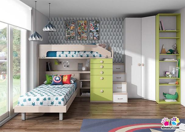 Habitaci n infantil 2 camas y armario rinc n y terminal for Armario habitacion infantil