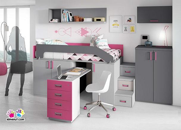 Habitaci n infantil con cama alta sobre armarios block con - Armario bajo cama ...