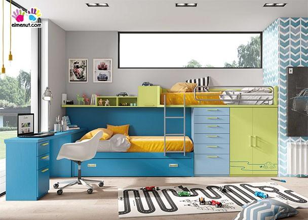 Habitaci n infantil con 3 camas tipo tren elmenut - Camas tipo tren ...