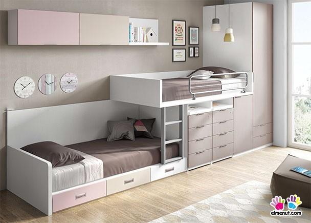 Dormitorio infantil con literas tipo tren y armario elmenut for Habitacion infantil dos camas
