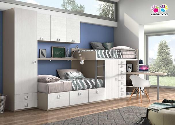 Habitaci n con camas tren armario altillo y escritorio - Habitaciones tren juveniles ...