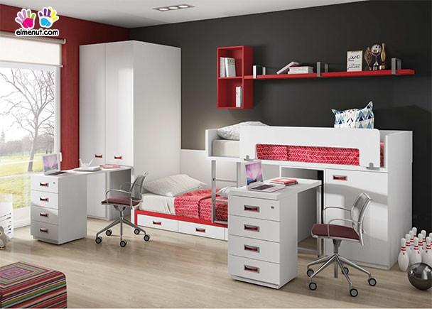 Dormitorio con literas tren armario y 2 escritorios elmenut - Literas tipo tren medidas ...