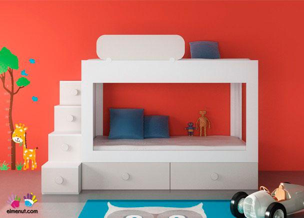 Litera 2 camas base nido 2 cajones escalera elmenut - Precios de habitaciones infantiles ...
