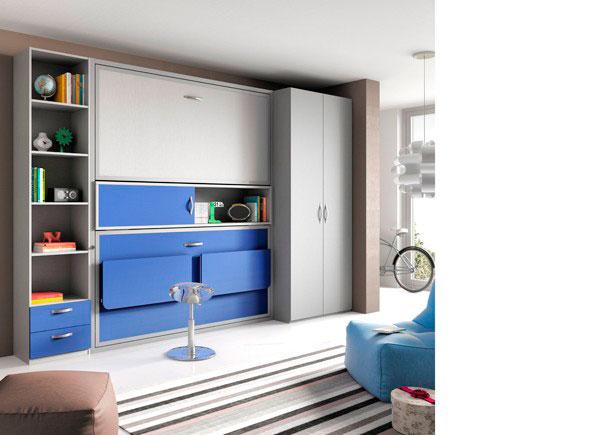 Armario De Cozinha Pequeno Magazine Luiza ~ Habitación juvenil con literas abatibles con escritorio y armario Elmenut