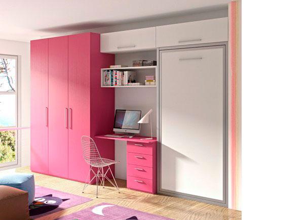 Dormitorio juvenil con abatible vertical y armario elmenut for Usado cantabria muebles