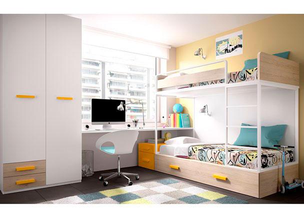 Dormitorio infantil con litera alta y escritorio elmenut - Literas juveniles conforama ...
