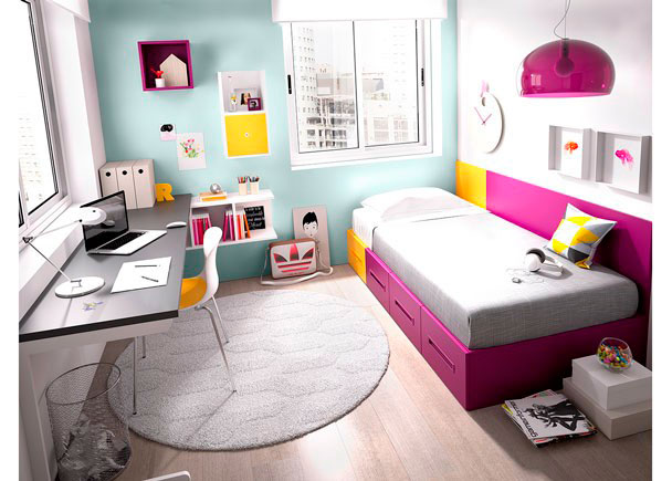 DormitorioJuvenil equipadoa base de elementos modulares y apilables.Las cajoneras y la cama son extraíbles y de facil arrastre. Dis