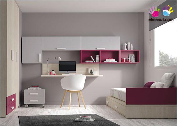 Habitación Juvenil con cama nido en acabado New Arce, Gris y Berenjena.