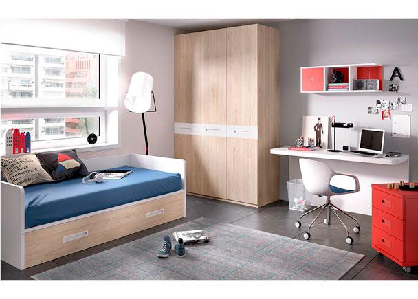 Habitación Juvenil equipada a base de elementos modulares y apilables.Los elementos que integran la presente composición son los siguien