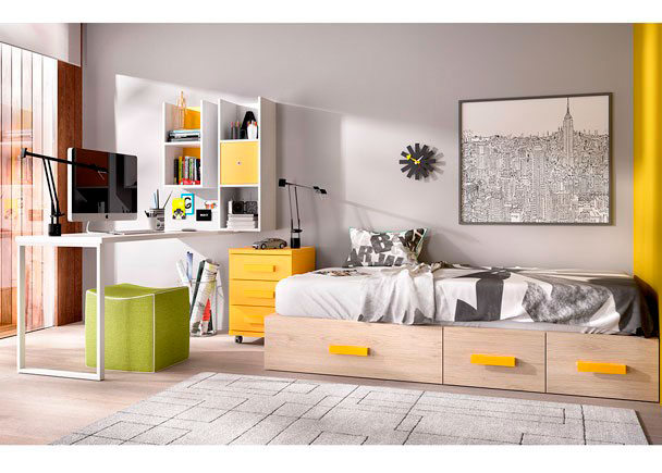 Dormitorio juvenil modular con cajones escritorio elmenut - Dormitorios con escritorio ...
