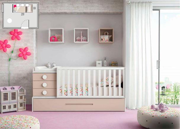 Dormitorio de beb con cuna convertible elmenut for Habitaciones infantiles precios