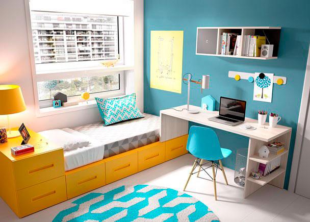 Dormitorio juvenil con cama modular y escritorio elmenut for Cama modular infantil