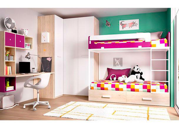 Dormitorio infantil con litera armario rinconero elmenut - Literas con armario ...