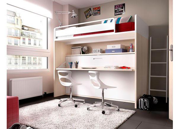 Dormitorio infantil con litera abatible elmenut - Quitamiedos para literas ...