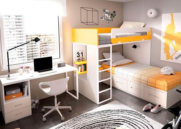 Litera Block derecha con base de tarima, para colchón de 90 x 190 + cama modular con base de 4 cajones + escritorio de sobre recto.