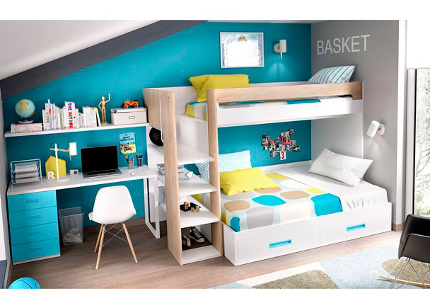 Habitaci n con litera maxi cama de 135 cm elmenut - Litera con cama de matrimonio ...