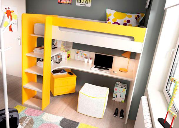 Dormitorio infantil con litera alta elmenut - Dormitorio infantil literas ...