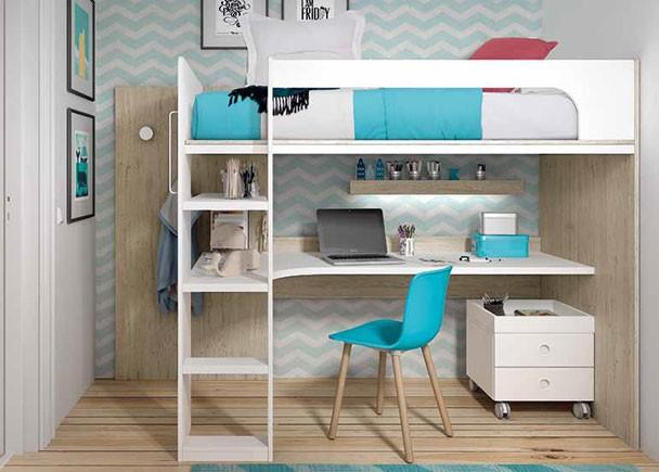 Este ambiente corresponde a una habitación infantil equipada con una litera alta para colchón de de 90 x 190 y zona de estudio en la parte inferior.