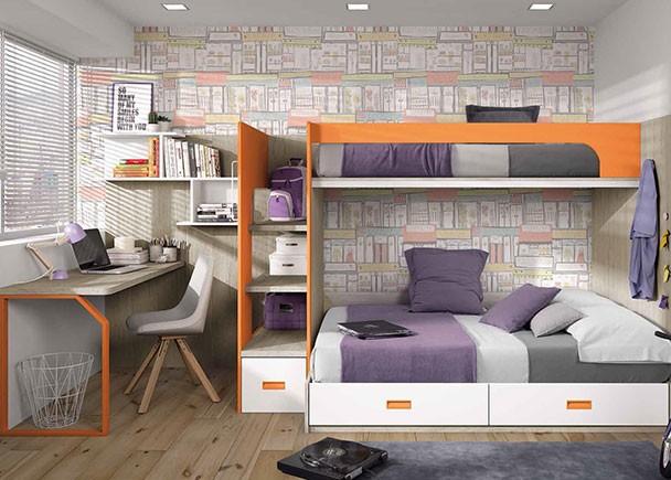 Dormitorio infantil con litera con cajones y escalera - Literas con escaleras de cajones ...