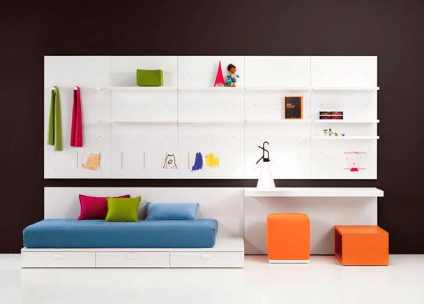 Dormitorio juvenil muy moderno con cama block elmenut - Cama juvenil con cajones ...
