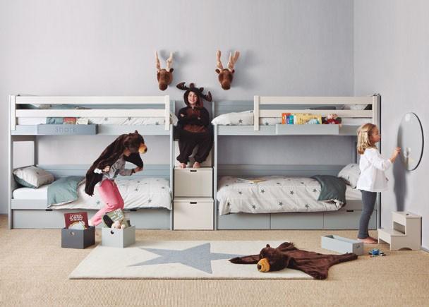 Habitación infantil 2 literas y escalera de 3 cajones