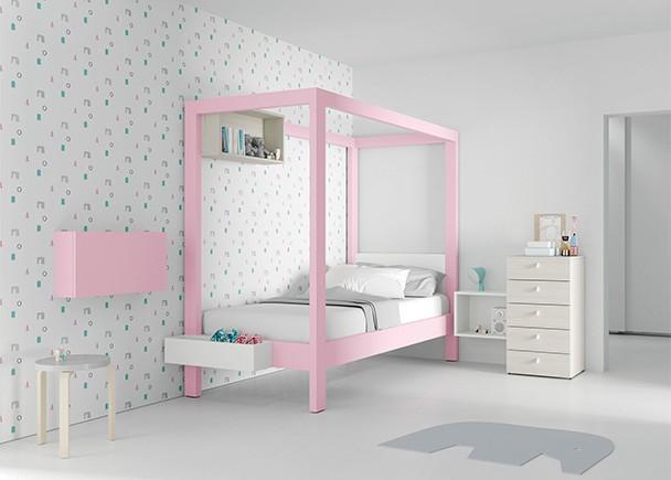 Dormitorio infantil con cama con dosel pensado para ni a - Dosel cama nina ...