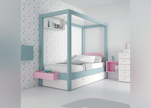 Dormitorio infantil equipado con una cama con dosel con base nido de dos cajones. Este diseño ha sido pensado para las niñas se sientan como unas ve