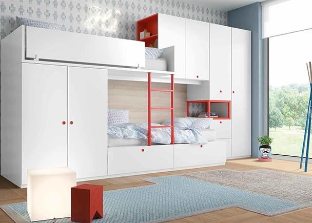 Dormitorio infantil con literas tipo tren armarios y - Dormitorio infantil literas ...