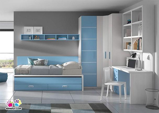 Habitaci n con cama alta sobre m dulo block elmenut - Escaleras para camas altas ...