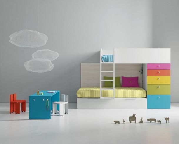Dormitorio infantil con literas tren y nido de arrastre - Dormitorio infantil literas ...