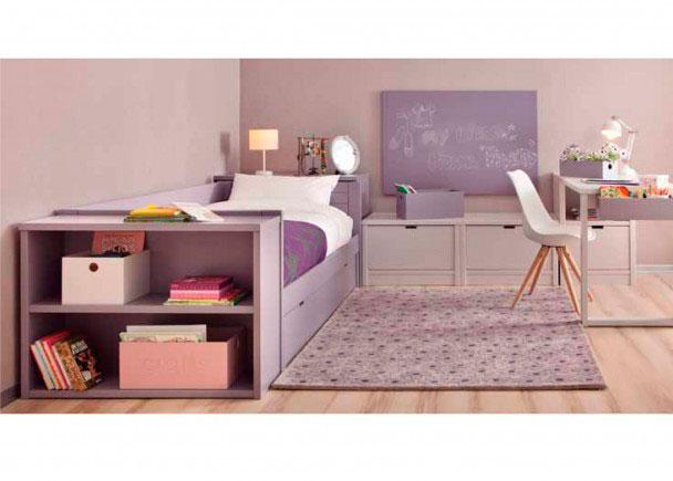 Dormitorio juvenil lacado modelo cometa elmenut for Dormitorios juveniles cama nido doble