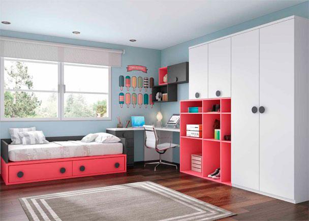Dormitorio Juvenil Con Armario Y Zona De Estudio Elmenut