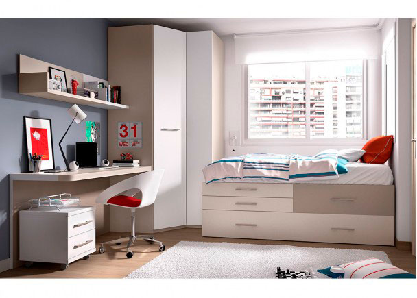 Dormitorio juvenil con cama nido armario rinc n elmenut for Dormitorio juvenil 2 camas