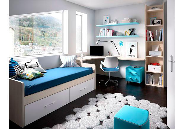 Habitación Juvenilequipada con cama nido con forma y base de dos baúles.Los elementos que integran la presente composición