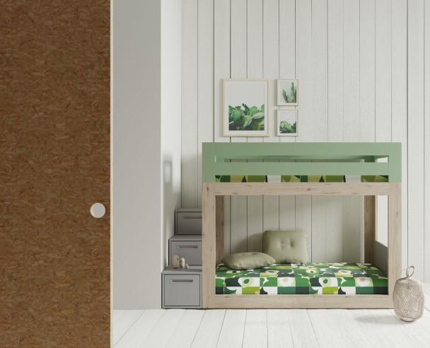 Dormitorio infantil con litera baja y escalera de cajones - Escalera cama infantil ...