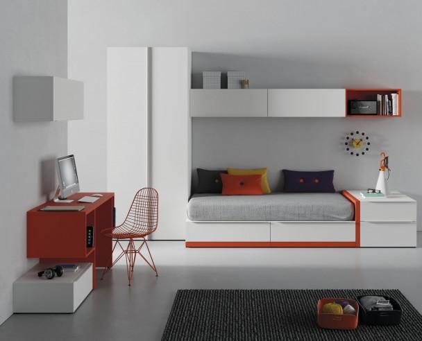 Habitaci n juvenil con cama nido de cajones armario y for Cama nido con cajones y escritorio