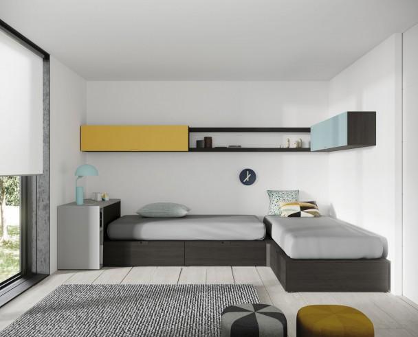 Dormitorio juvenil con dos camas en ángulo.. Elmenut