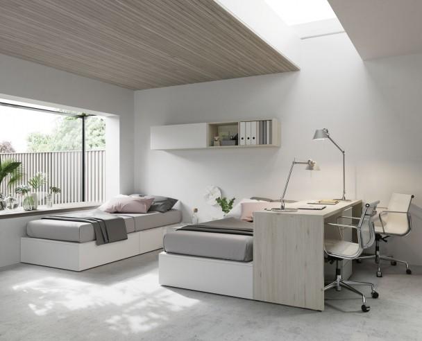 Habitaci n infantil con 2 camas y escritorio elmenut - Habitacion 2 camas ...