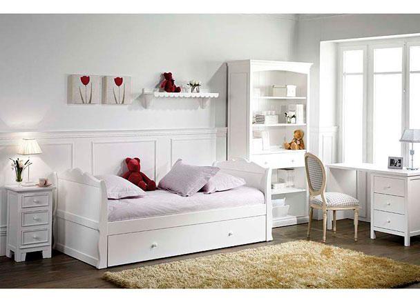 Juvenil lacado blanco con cama nido y mesa elmenut for Dormitorios juveniles con cama grande