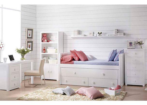 Dormitorio Lacado en blanco con Compacto 2 camas con 2 cajones, Estantería con puertas y trasera, Sinfonier, Estantes pared y Mesa estudio.
