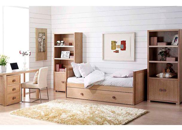 Dormitorio juvenil con cama nido 2 estanter as y mesa con - Cama juvenil con cajones ...