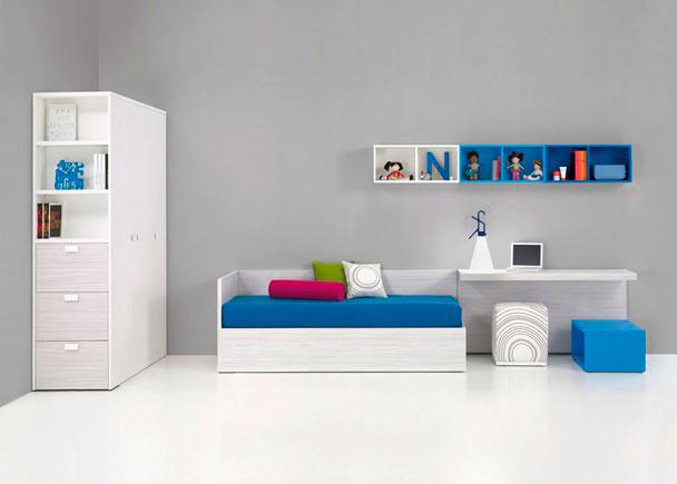 Juvenil con armario cama canap mesa armario elmenut - Mesa estudio juvenil ...
