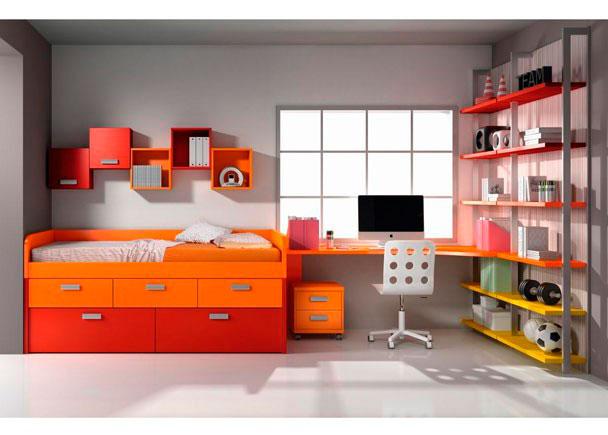 Habitaci n infantil en rojo naranja y amarillo elmenut - Dormitorios infantiles malaga ...