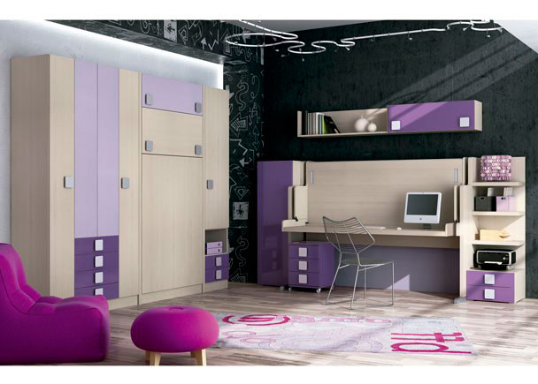 habitacion infantil con abatible vertical con armarios