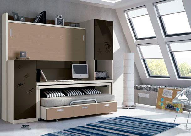 Juvenil con mueble compacto abatible autoportable elmenut for Mueble juvenil cama abatible
