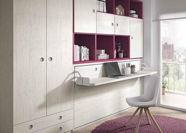 Dormitorio juvenil con cama abatible horizontal escritorio y armario elmenut for Cama escritorio juvenil