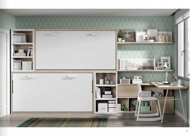 Dormitorio juvenil con dos camas abatibles horizontales - Dormitorios juveniles con camas abatibles horizontales ...