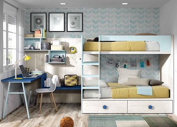 Dormitorio infantil con litera para 2 camas de 90 x 190 con cajones en la parte inferior y escalera integrada.