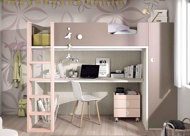 Habitaci n infantil con litera exenta con armario y zona - Literas con armario ...